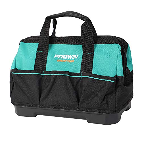 Prowin 14-inch Tool Bag, Multi-pocket Tool Organizer with Plastic Waterproof Bottom
