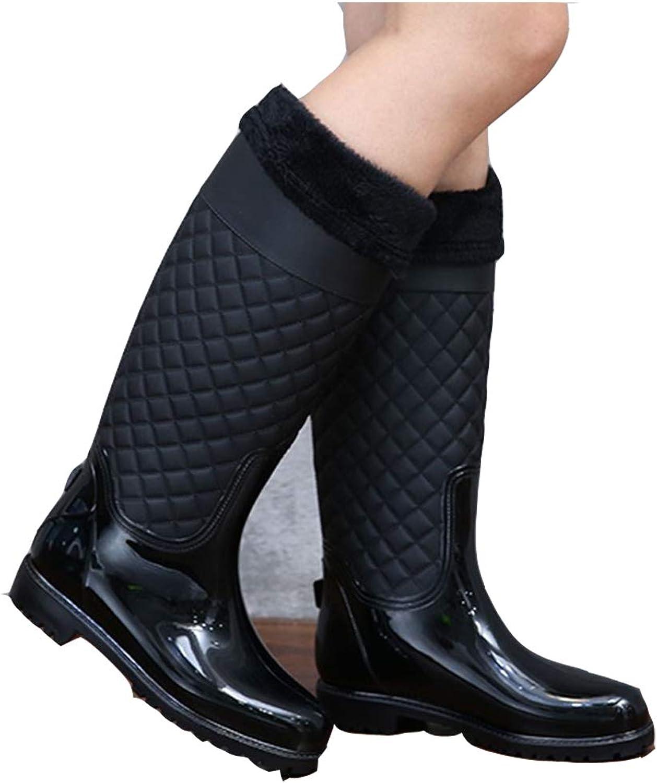 MAGO Women Knee High Winter Boots Waterproof Rubber Rain Boots Casual Winter Hunter Boots