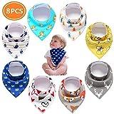 Pachock 8 piezas Bebe Baberos Bandanas Baberos 100% Algodón Orgánic para babear y dentición, Absorbente y Suave para recién nacidos bebé y niños Unisex