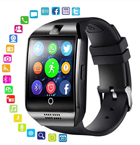 SSSabsir Bluetooth Smart Watch Men Q18 With Touch Screen Big Battery Support TF Sim Card Camera for Android Phone Smartwatch black
