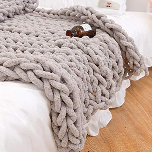 GLITZFAS Gestrickte Decke Grob Kuscheldecke Grobstrick Wolldecke Strickdecke Tagesdecke Überwurf Decke Zuhause Dekor Geschenk fürs Sofa Tagesdecke (Khaki,100 * 120cm)