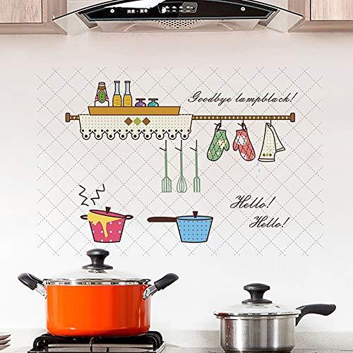 Patrón de cocina de dibujos animados Anti-aceite pegatinas de pared de cocina antiincrustantes decoración del hogar calcomanías murales papel tapiz adhesivo para azulejos de cocina