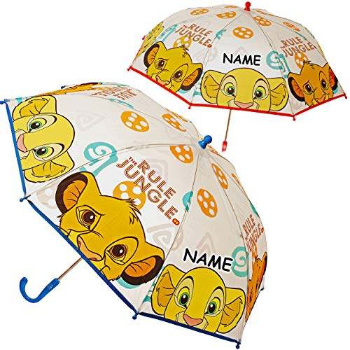 alles-meine.de GmbH 2 Stück _ Kinderschirme - König der Löwen - Simba & Nala - inkl. Name - Ø 82 cm / Regenschirme Kinder - groß Stockschirme mit Griff Farb-Mix - Regenschirme - ..