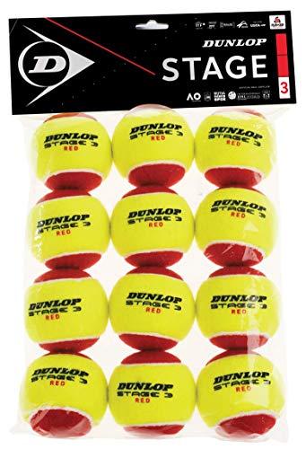 Dunlop 601344 Pelota de Tenis, Stage 3 Rojo - Blister de 12...