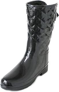 Hunter Refined Gloss Quilt Short Black Boots (7 B (M) US)