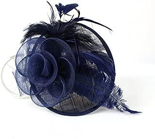 YSJOY Womens Sinamay Ostrich Feather Fascinators Flower Kentucky Derby Hat
