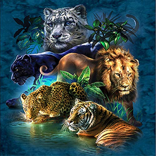 DIY 5D Diamond Painting Set Animal,Adults Full Drill Crystal Rhinestone Embroidery Cross Stitch by Number Kits Mosaic Canvas Arts Craft for Home Wall Decor Gift D8241 Round Drill,60x60cm (23.6x23.6in)