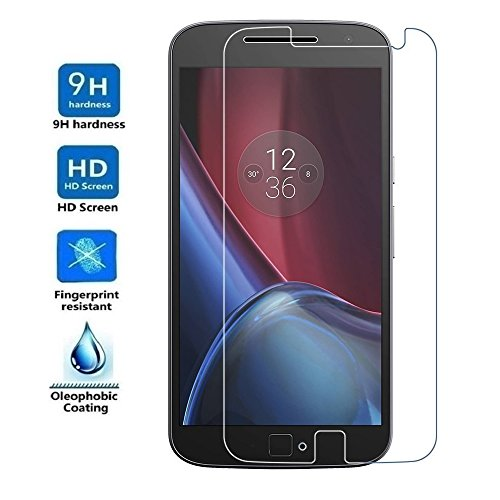 REY Protector de Pantalla para Motorola Moto G4 Plus 4th, Cristal Vidrio Templado Premium