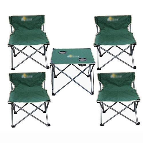 YLCJ Campingtafel met vier inklapbare stoelen, met rugleuning voor visstoel, drankhouder, met draagtas, licht, 150 kg, camping, tuin, turquoise M Groen