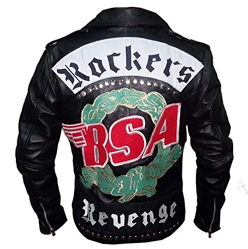 SAMA Brands BSA Rockers Revenge George Michael Men's Classic Biker Leather Jacket (XL Fit for 45 46 Inches Actual Chest Size)