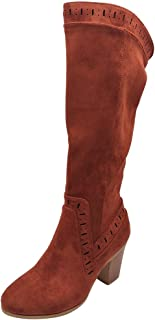 Women Winter Warm Long Boots, Ladies Solid Round Toe Square Heel Suede Over-knee High Tube Boots