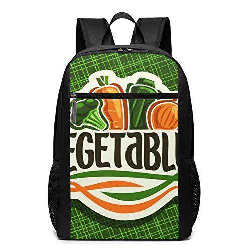 School Backpack Fresh Vegetables Sign Raw, College Book Bag Business Travel Daypack Casual Rucksack for Men Women Teenagers Girl Boy