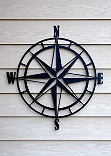 Lasaani Compass ACP Wall Plaque Painted Cutout Stickable Home Decor Wall Art (Glossy Black)
