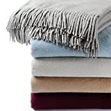 CUDDLE DREAMS Exclusive Mulberry Silk Throw Blanket with Fringe, Naturally Soft, Breathable (Gray)