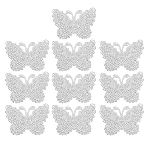 10 x Blanc Brodé Butterfly Appliques Accessoire Dentelle Décoration pour Couture