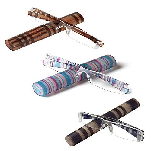LianSan 3 pares de lectura gafas sin montura Diseñador lectura rayado plegable sin marco Moda glassese con el caso L3220 (azul multicolor marrón, + 1,75)