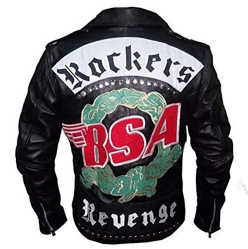 SAMA Brands BSA Rockers Revenge George Michael Chaqueta de Cuero clásica de Motorista para Hombre