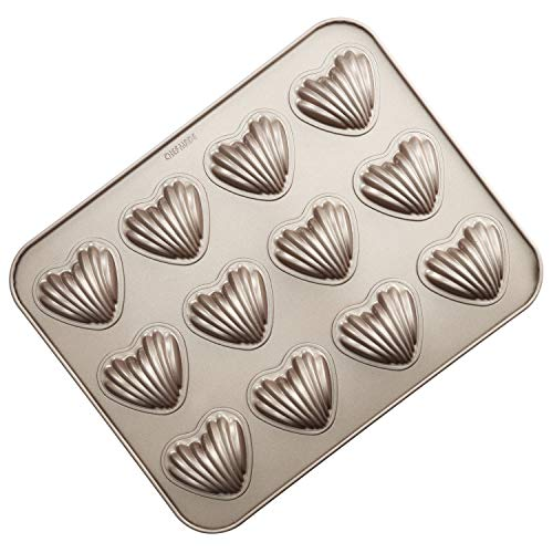 CHEFMADE Madeleine Mold Cake Pan, 12-Cavity Non-Stick Heart-shaped Shello Madeline Bakeware for Oven Baking (Champagne Gold)