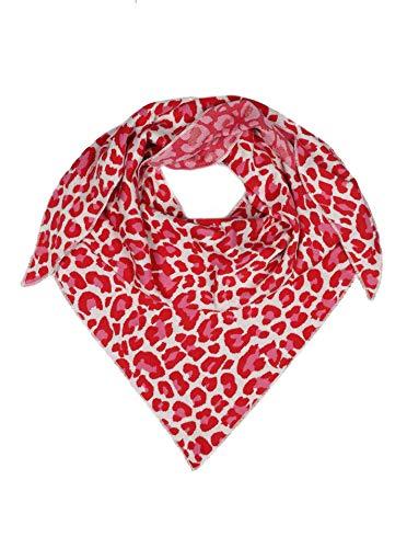 Zwillingsherz Dreieckstuch aus Baumwolle - Hochwertiger Schal mit Leo Design für Damen Jungen Mädchen - Uni - XXL Hals-Tuch und Damenschal - Strick-Waren - für Herbst Frühjahr Sommer rot