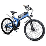 Bicicleta eléctrica, Bici de montaña plegable eléctrica, 26 * 4Inch Fat Tire 7 velocidades Ebikes para adultos con Híbrido luz delantera LED de doble freno de disco de la bicicleta de 36V / 8AH,Azul