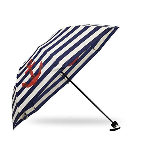 Sonia Originelli Taschenschirm Maritim Anker Streifen Regenschirm Schutz Farbe Marineblau