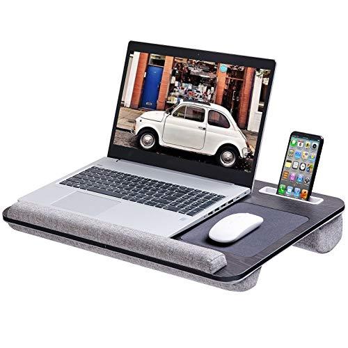 Rentliv Supporto per Laptop Oversize con Cuscino e Poggiapolsi su Letto, Vassoio per Notebook Fino a 17 pollici con Porta Tablet, Cellulare e Penna - Grigia