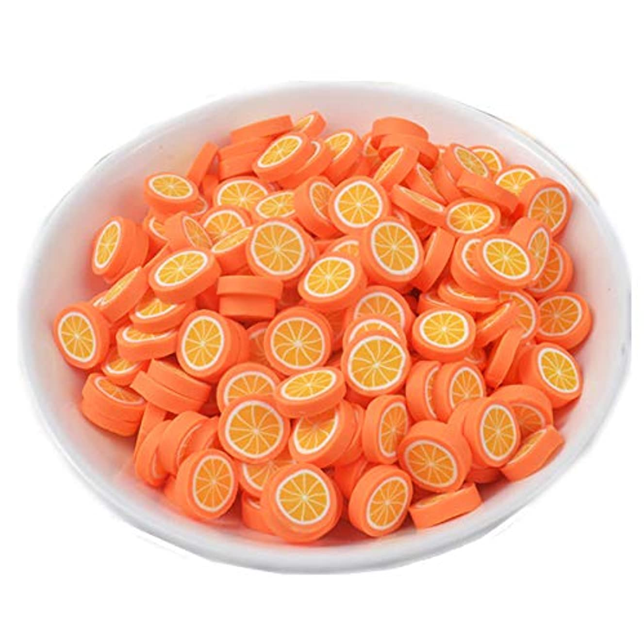 100 Pack Fruit Slime Charms Resin Flatbacks Buttons Polymer Clay Beads for Miniature Fairy Garden Hair Accessories DIY Scrapbooking Phone Case Jewelry Making Home Decoration (Orange)