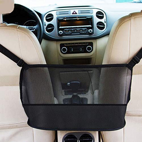 Car Net Pocket Handbag Holder, Car Storage Organizer Seat Back Net Bag, Barrier of Back Seat Pet Kids, Driver Storage Netting Pouch, Car Mesh Organizer for Purse Phone Cargo Tissue Holder(Black)