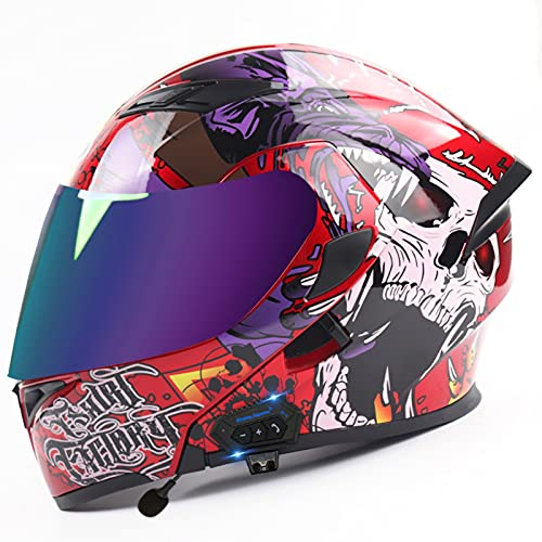 STRTG Bluetooth Integrado Casco de Moto Modular con Doble Anti Niebla Visera Cascos de Motocicleta ECE Homologado a Prueba de Viento para Adultos Hombres Mujeres B,M:57-58cm