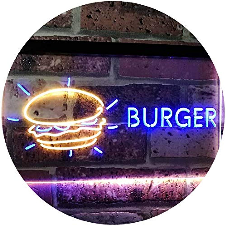 ADVPRO Burger Kitchen Decoration Dual Farbe LED Barlicht Neonlicht Lichtwerbung Neon Sign Blau & Gelb 16  x 12  st6s43-i2177-by