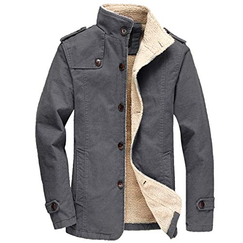 Tanming Mens Detachable Hood Stand Collar Thicken Sherpa Lined Outerwear Jacket Coats