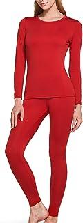 TSLA Blank Women's Thermal Microfiber Soft Fleece Long Johns Top & Bottom Set