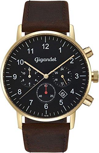 Gigandet herenhorloge minimalistisch dualtijdhorloge analoog met lederen armband G21-002