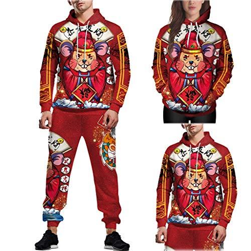 Dorical Navidad Adulto Hombre y Mujer Novedad Elfo Tejido Ugly Christmas Sweater Unisex Pareja Modelos Hombres y Mujeres 3D Manga Larga Chaqueta con Capucha suéter Pantalones Traje