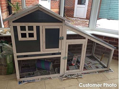 FeelGoodUK BUNNY ARK - Hybrid - Double Tier Rabbit Hutch Guinea Pig House Cage Pen Home (RH10) - In Stock