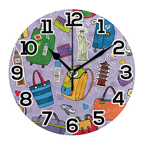 Reloj de Pared Maletas Mochilas Equipaje Monumentos turísticos Big Ben Estatua Libertad Reloj de acrílico Redondo Números Grandes Reloj silencioso sin tictac Reloj Retro con Pilas para e Schoo