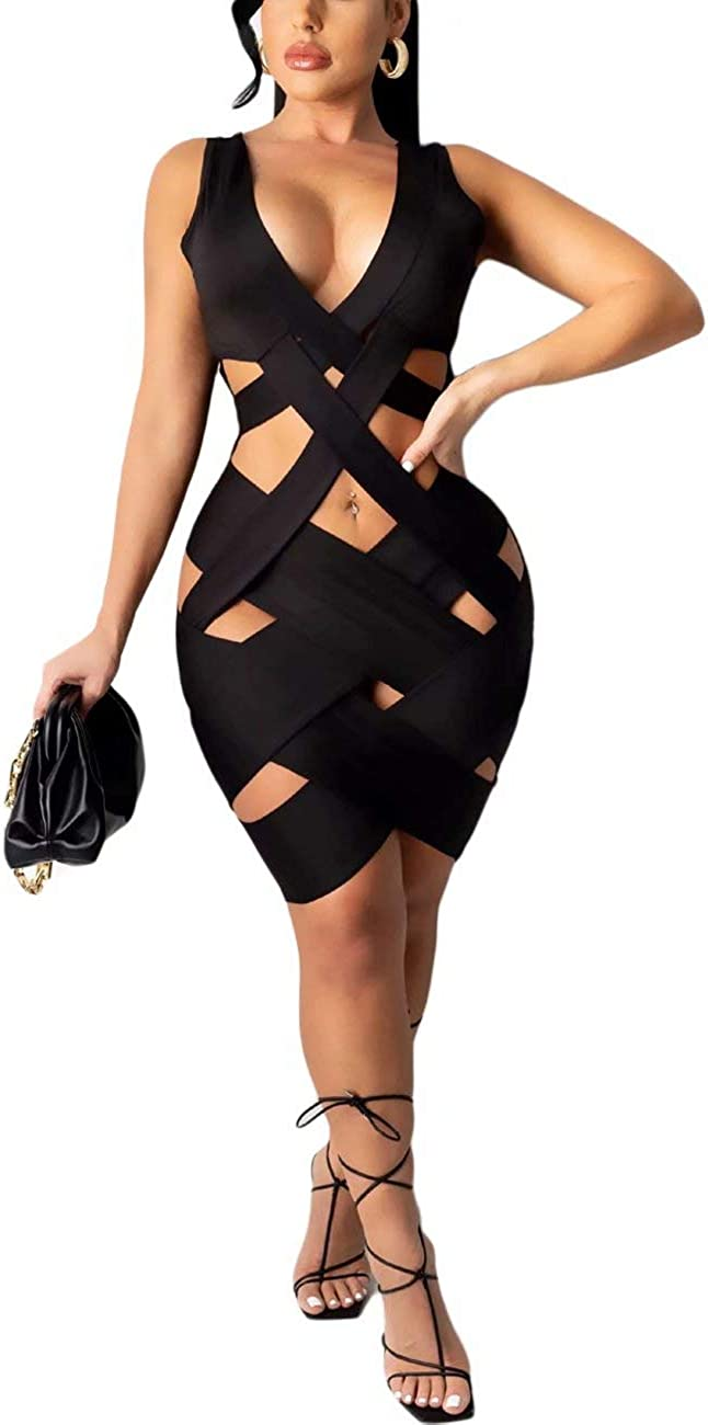 Women Sexy Sleeveless V Neck Backless Hollow Out Cross Bandage Party Bodycon Mini Dresses Clubwear