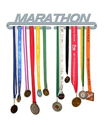 Perchero exhibidor para medallas «Marathon» de The Medal Hanger Shop, de acero inoxidable pulido