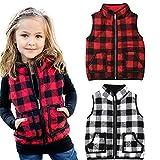 Carolilly Chaleco de invierno para bebé con capa de Buffalo Plaid sin mangas Chaleco rojo y negro a cuadros. 1-2 Años