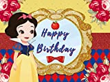 Princess Snow White Backdrop Red and Royal Blue Flower Birthday Backdrop Kids Girls Rose Yellower Mirror Happy Birthday Party Apple Cake Table Decor Banner Background Photo Booth