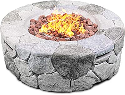 Homeology Fireology KALUYA Grey Lavish Garden £ Patio Gas Fire Pit with Eco-Stone Finish – Fully Assembled by Homeology