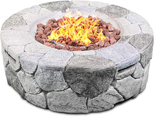 Centurion Supports Fireology KALUYA Grey Lavish Garden & Patio Gas Fire Pit with Eco-Stone Finish – Fully Assembled
