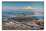Lantern Press Aerial View of Seattle, Washington and Mt. Rainer Photography A-91283 (12x18 Aluminum Wall Sign, Metal Wall Decor Ready to Hang)