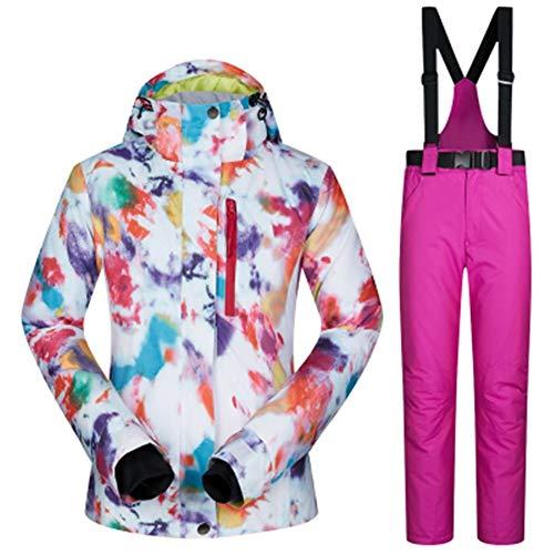 JSYDTX Damen wasserdichte Ski Snowboard-Jacke Winddicht Frauen Anzug Snowboard Pant Winterkleidung Hosen verdicken mit Kapuze Frau Sport Wear Warm (Farbe : Color 5, Size : M)
