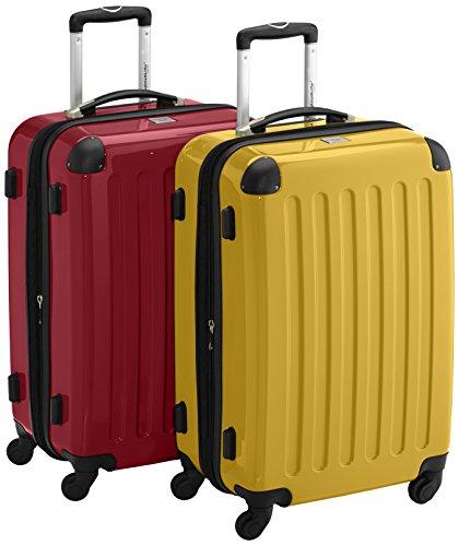 HAUPTSTADTKOFFER - Alex - 2er Koffer-Set Hartschale glänzend, 65 cm, 74 Liter, Rot-Gelb