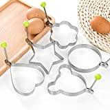 A-XINTONG 5PCS 18/8 Stainless Steel Five Style Fried Egg Shaper Pancake Mold Ring Kitchen Utensil for Creative Breakfast Frying Egg Cooking Tools Kitchen Accessories Gadget