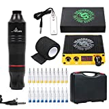 Dragonhawk Cartridge Tattoo Machine Kit Pen Rotary Tattoo Machine Cartridge Needles Power Supply for...