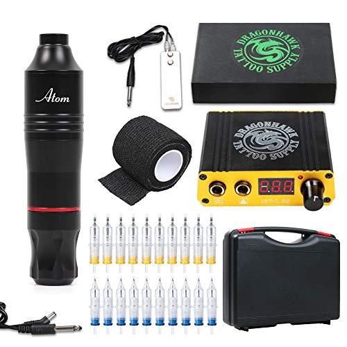 Dragonhawk Cartridge Tattoo Machine Kit Pen Rotary Tattoo Machine Cartridge Needles Power Supply