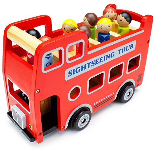 Double-Decker Tour Bus for Kids - Wooden Wheels Large Toy Car with Removable Top Deck & 9 Figurines - Classic Red Wood Children's Play Vehicle - Baby Learning Toys for Toddlers, Girls & Boys, 10 Pcs