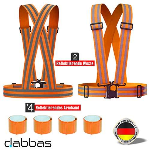 Dabbas Reflektierende Weste (2 STK) Warnweste Fahrrad، Läufen، Joggen، Arbeit، Reflektorgurt، Verstellbare Reflektorweste، Sicherheitsweste mit (4 STK) Reflektorbänder، Reflektierende für erhöhte